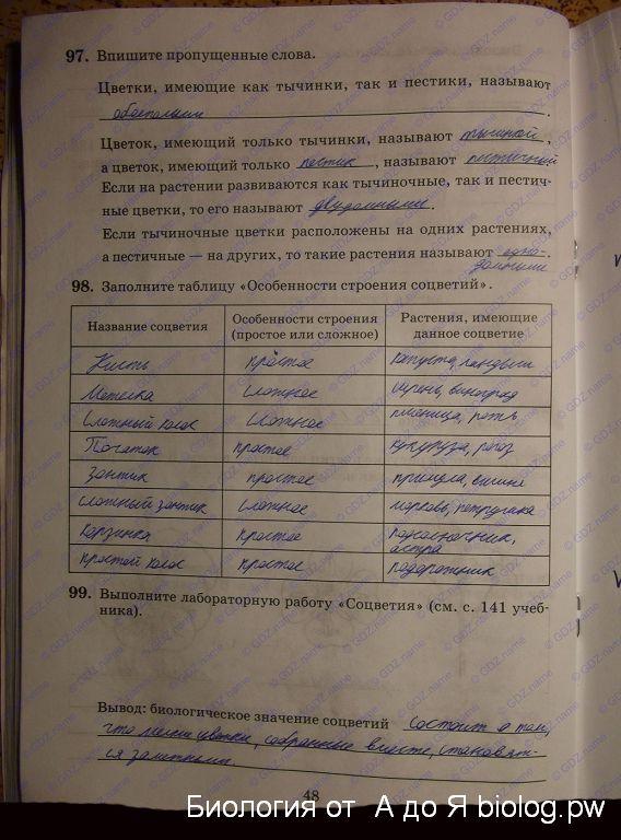 растениях биологии 6 гдз о класс по таблица